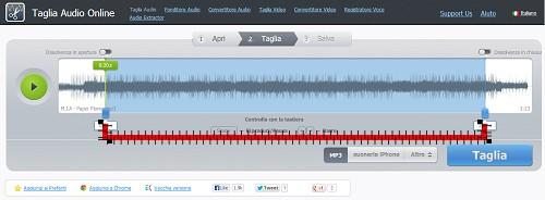 tagliare audio online