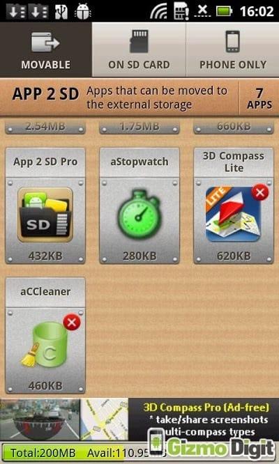 App su scheda SD
