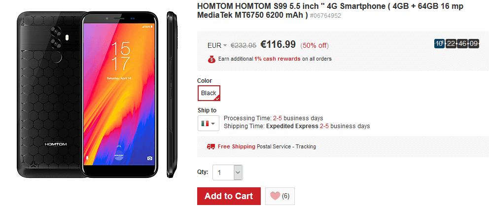 HomTom S99 promozione LightInTheBox