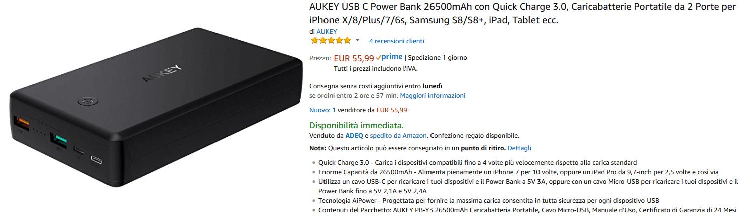 Aukey PB-Y3 powerbank recensione