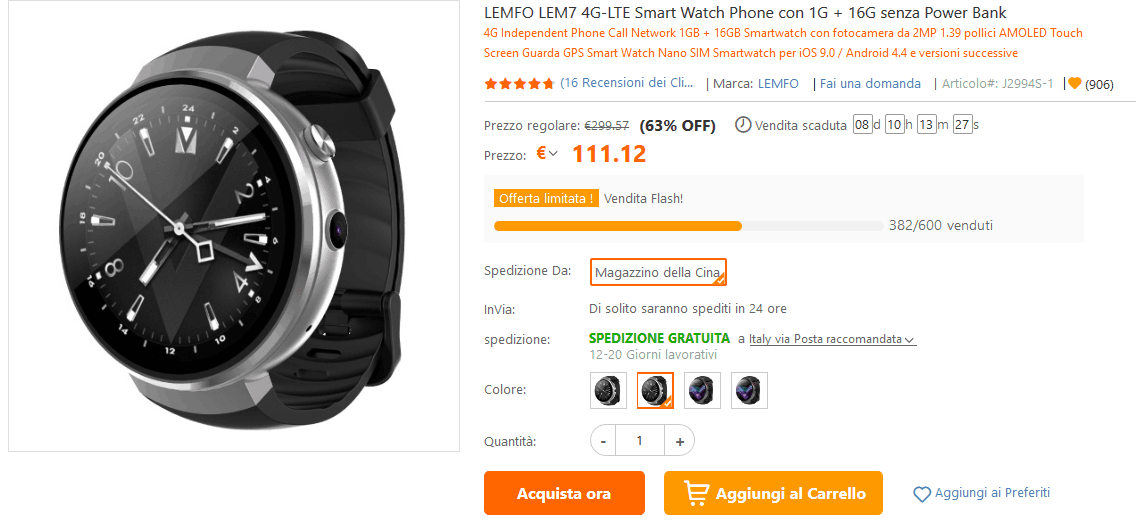 Smartwatch LTE, GPS e Android offerta TomTop