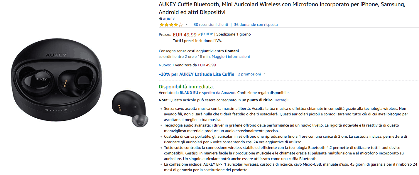 Aukey EP-T1 Auricolari true wireless recensione