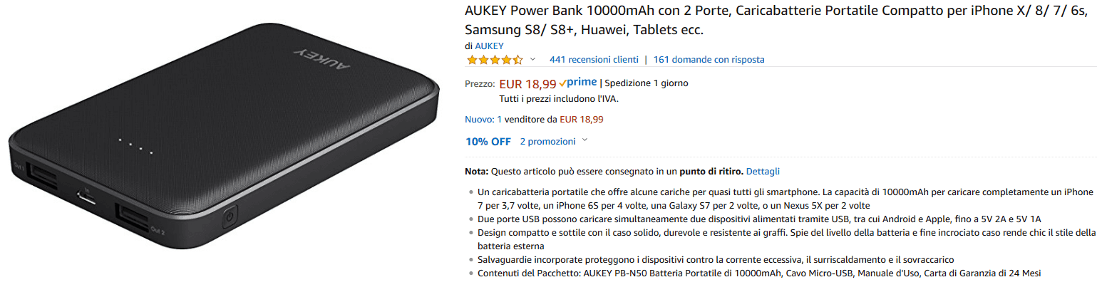 Aukey PB-N50 powerbank recensione