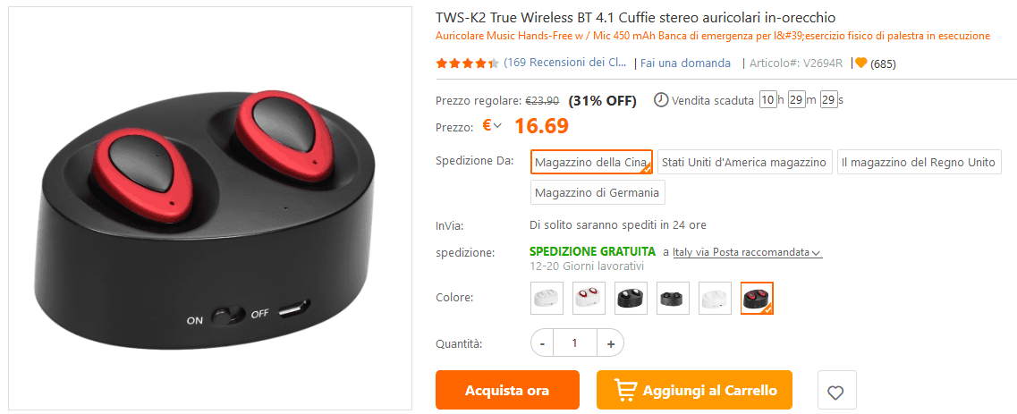 Auricolari true wireless low-cost offerta TomTop