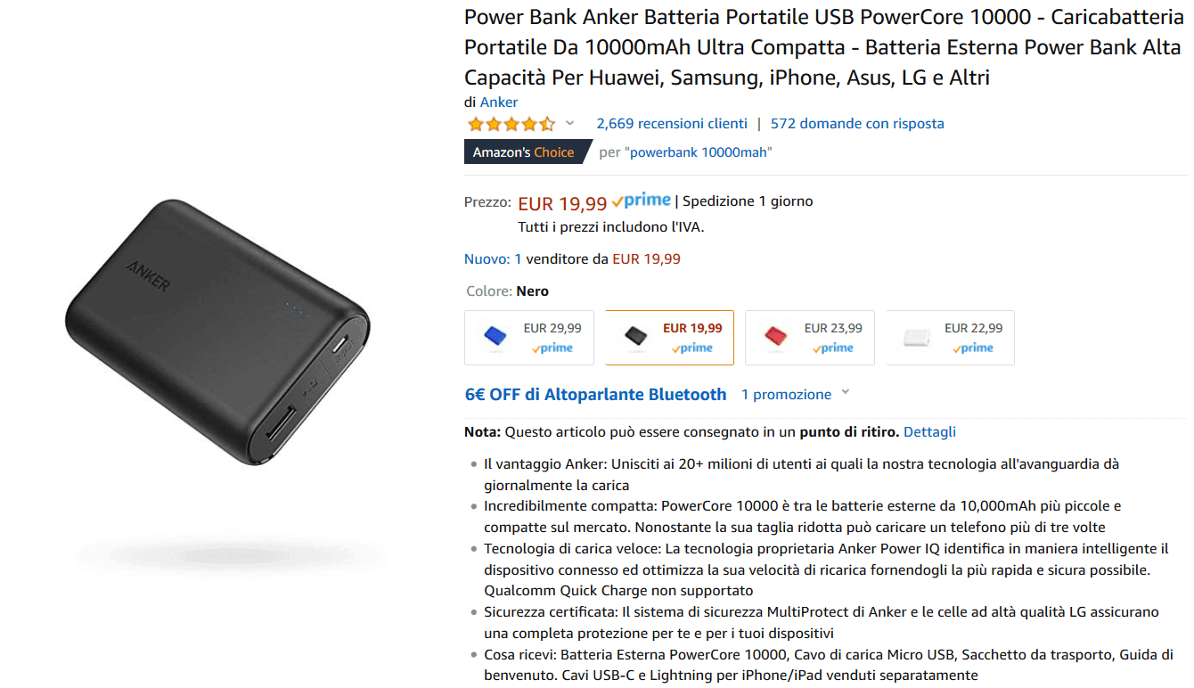 Anker PowerCore 10000 powerbank recensione
