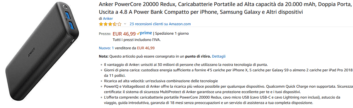 Anker PowerCore 20000 Redux powerbank recensione