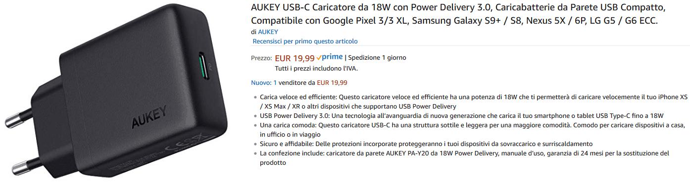 Aukey PA-Y20 Caricatore da parete recensione