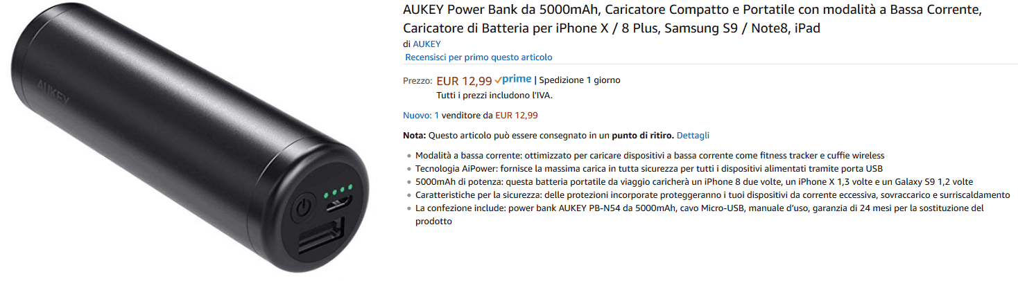 Aukey PB-N54 Powerbank recensione