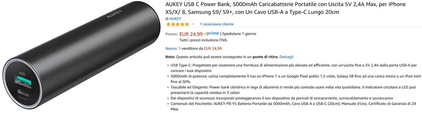 Aukey PB-Y5 powerbank recensione