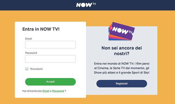 Come disdire NOW TV da computer tramite sito web