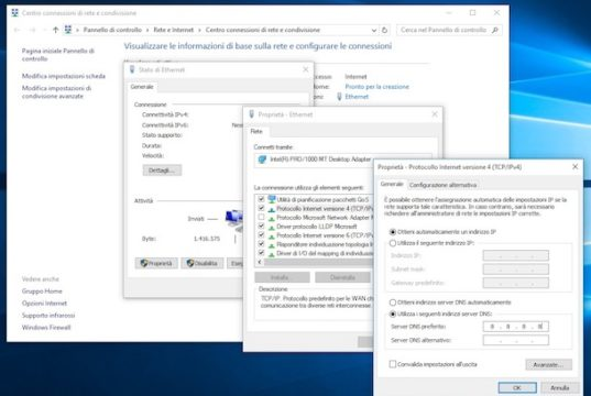 Cambiare DNS con Windows 10