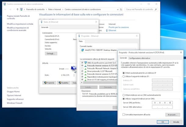 Cambiare DNS con Windows 10