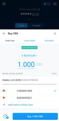 Acquisto Carta App Crypto.com